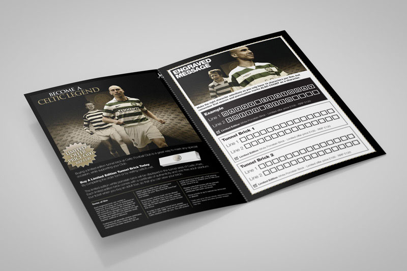 Celtic FC flyer design and print by Gloucestershire branding agency Alias