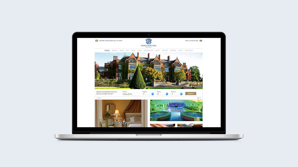 Web design by Gloucestershire hotel marketing agency Alias for Hoar Cross Hall Spa Hotel