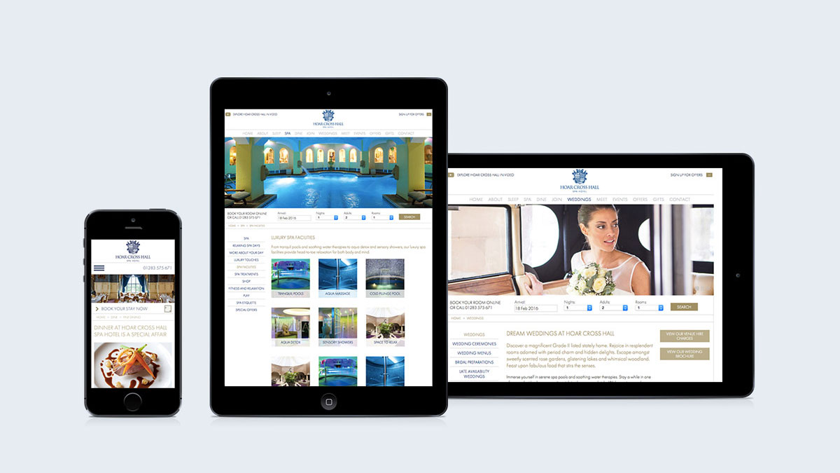Mobile-friendly web design by Gloucestershire digital agency Alias for Hoar Cross Hall Spa Hotel