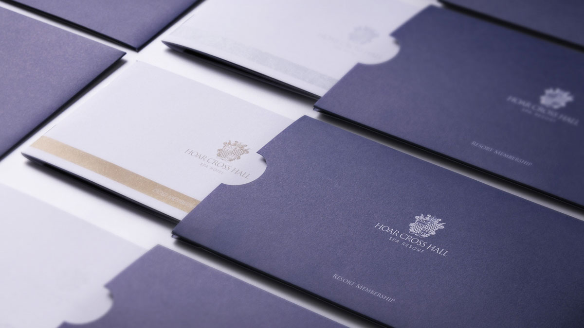 Gift voucher design and print by Gloucestershire marketing agency Alias for Hoar Cross Hall Spa Hotel