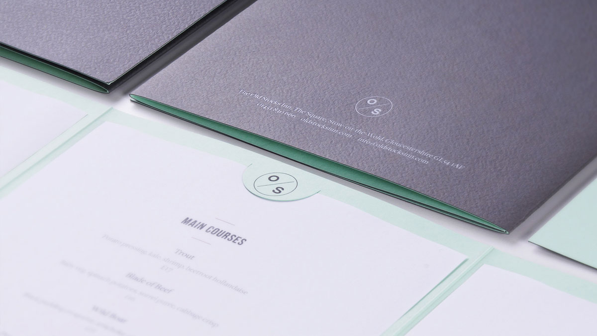 Menu design and print by Cheltenham design company Alias for The Old Stocks Inn