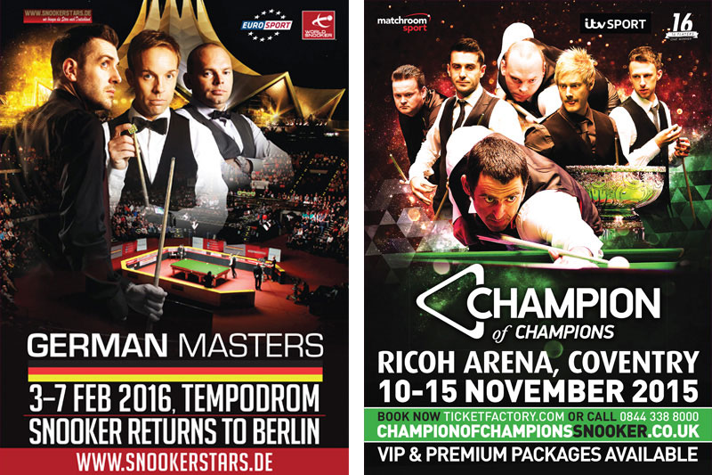 German Masters 2016 and Champion of Champions 2015 artwork by Cheltenham design agency Alias for World Snooker