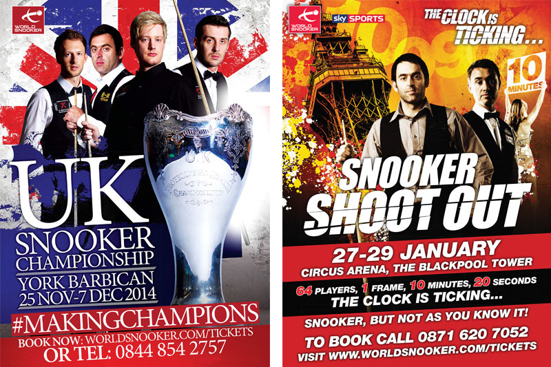 UK Championship 2014 and Snooker Shoot-Out 2012 artwork by Cheltenham design agency Alias for World Snooker