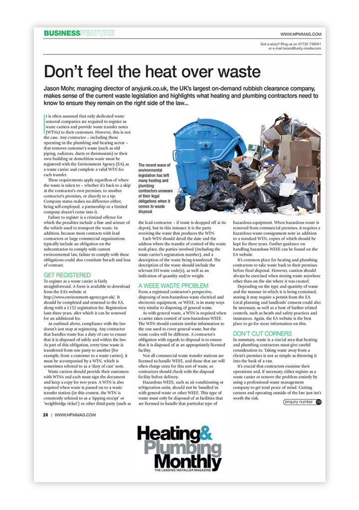 Heating & Plumbing Monthly opinion piece, PR by Alias for AnyJunk