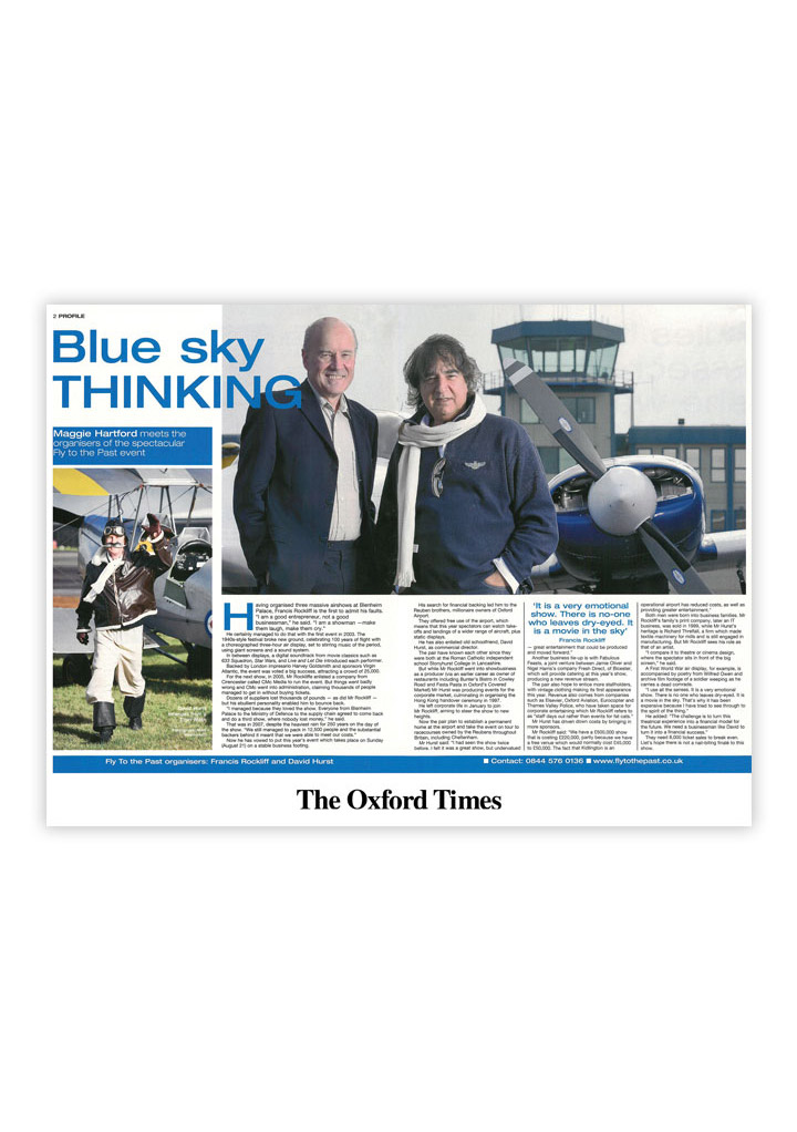 Oxford Times business feature: Gloucestershire public relations agency Alias for Fly to the Past