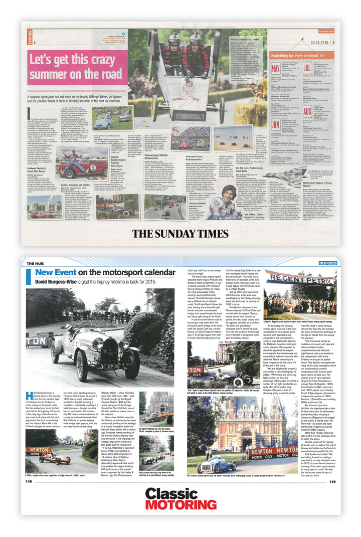 Sunday Times press coverage by Cheltenham PR consultancy Alias for the Chateau Impney Hill Climb