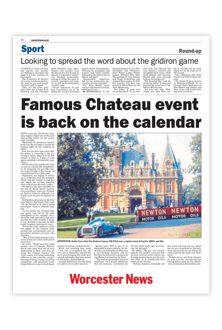 Local and regional press coverage by Cheltenham public relations consultancy Alias for the Chateau Impney Hill Climb