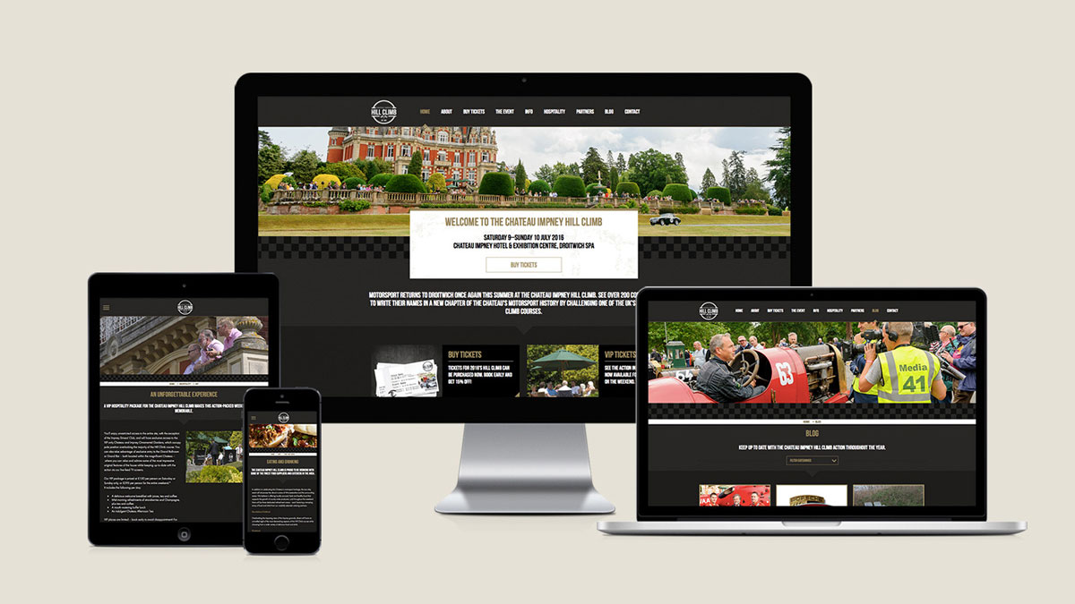 Responsive web design by Cheltenham digital agency Alias for the Chateau Impney Hill Climb