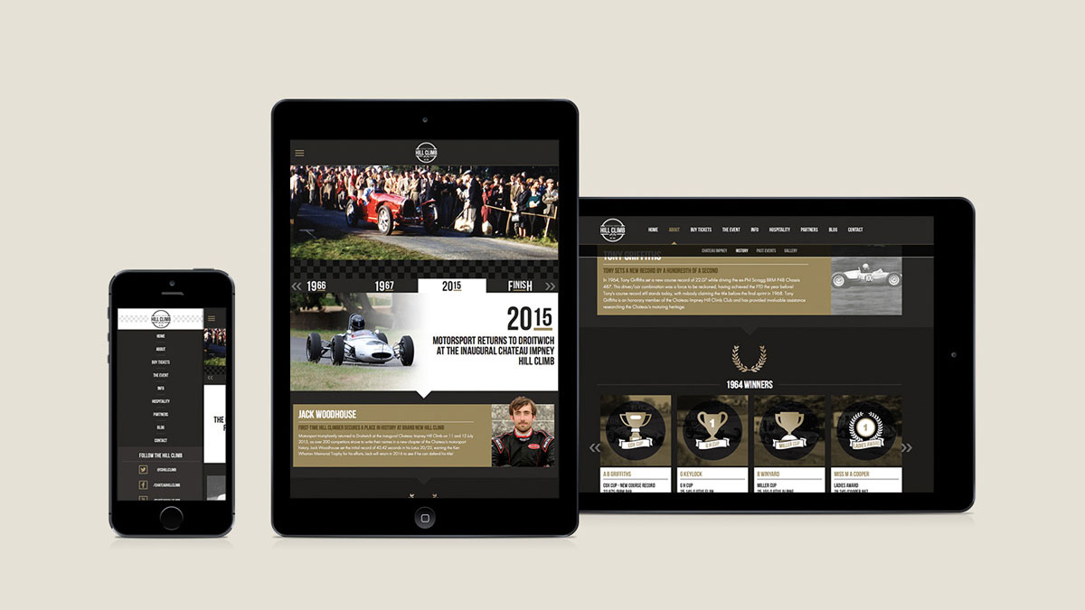 Mobile-friendly website design by Cheltenham digital agency Alias for the Chateau Impney Hill Climb