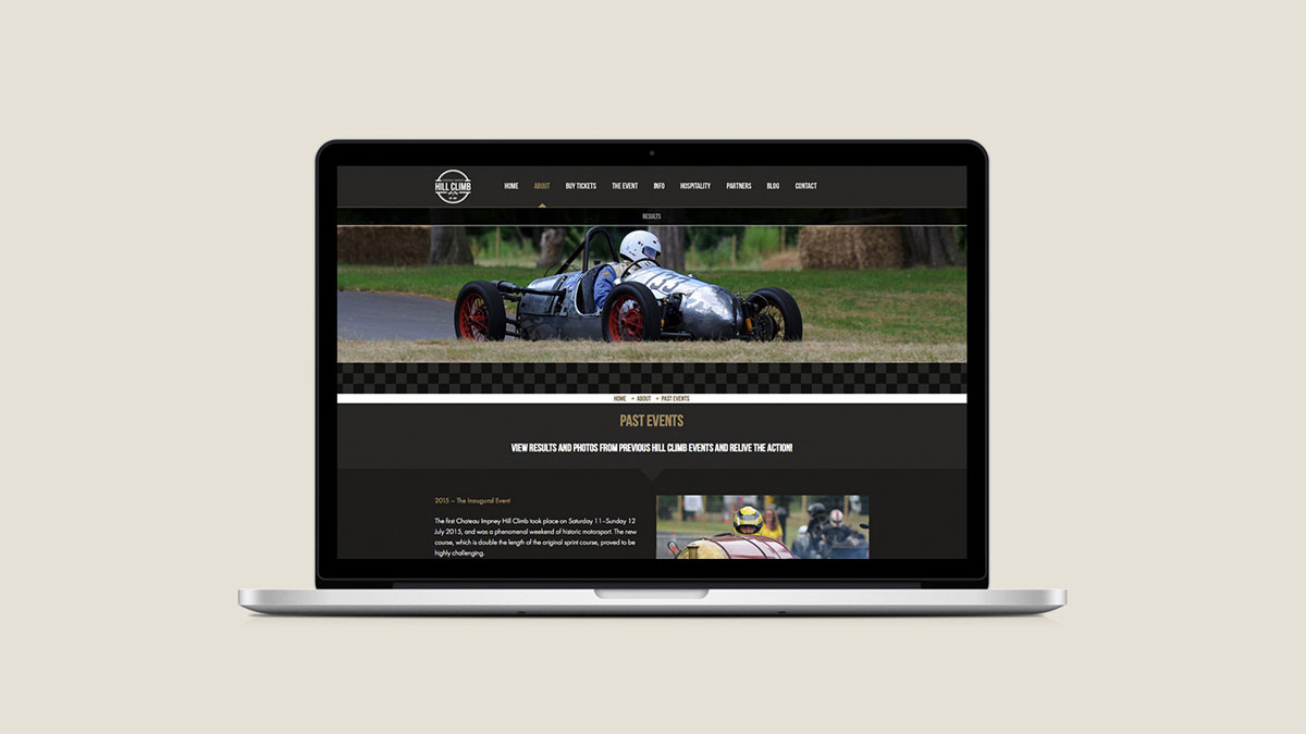 Web design by Cheltenham digital agency Alias for the Chateau Impney Hill Climb