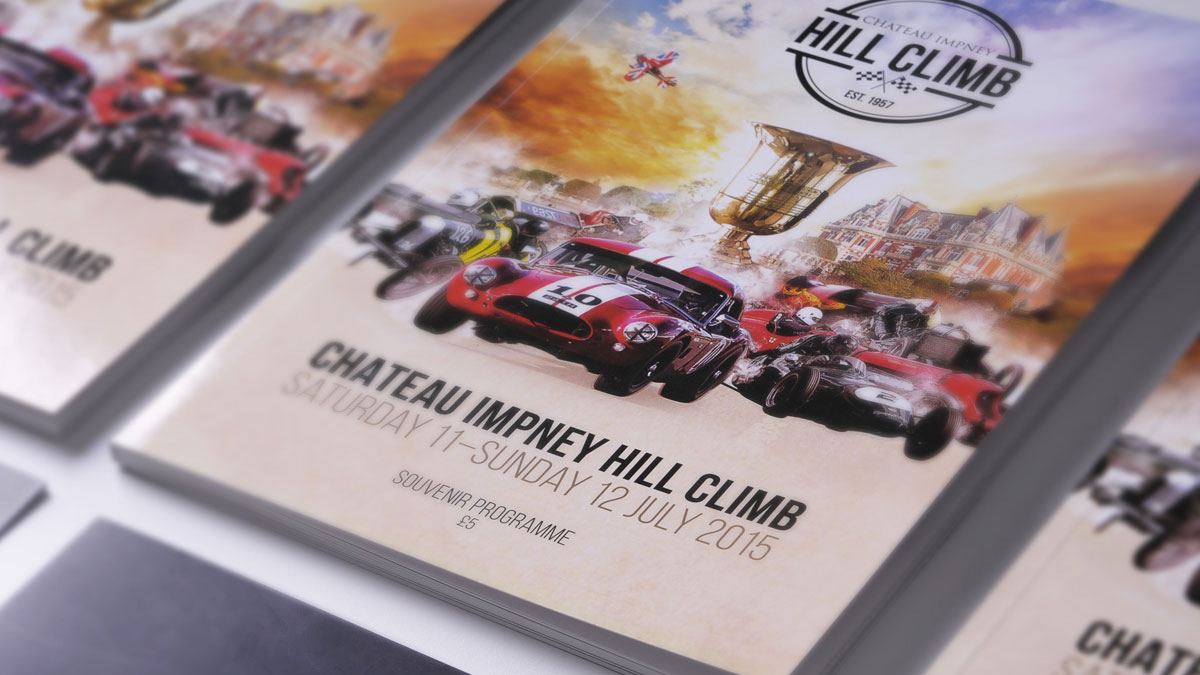 Event programme design and print by Cheltenham design agency for the Chateau Impney Hill Climb