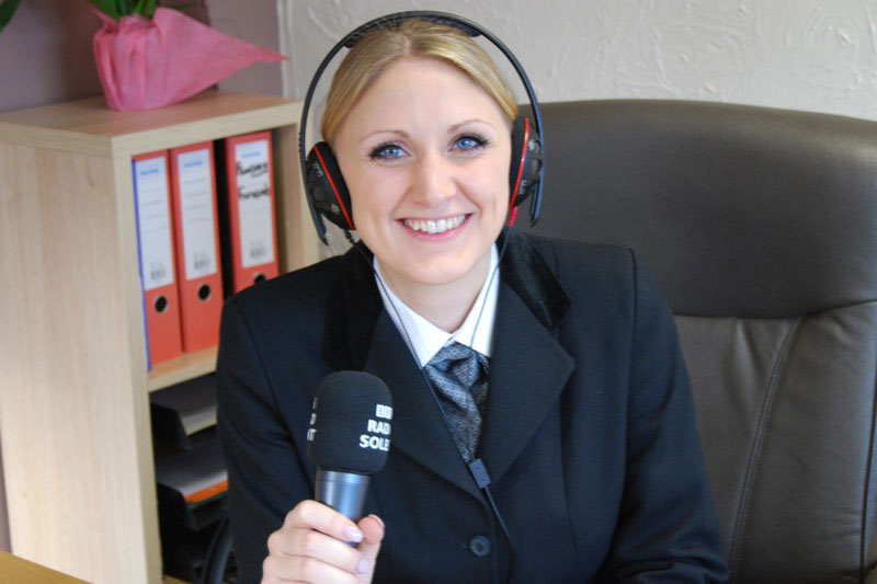Victoria Nethercote broadcasting live on the BBC Solent Breakfast Show, PR by Alias for Laurel Funerals
