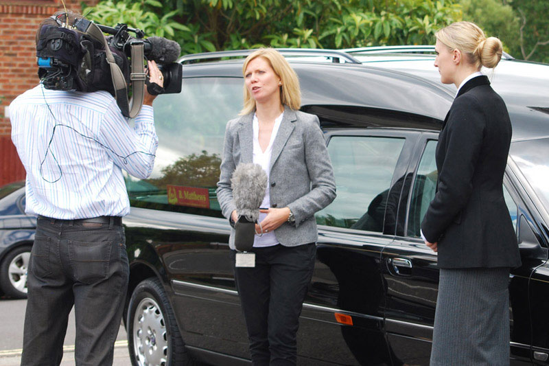 Victoria Nethercote being interviewed by BBC South Today, PR by Alias for Laurel Funerals