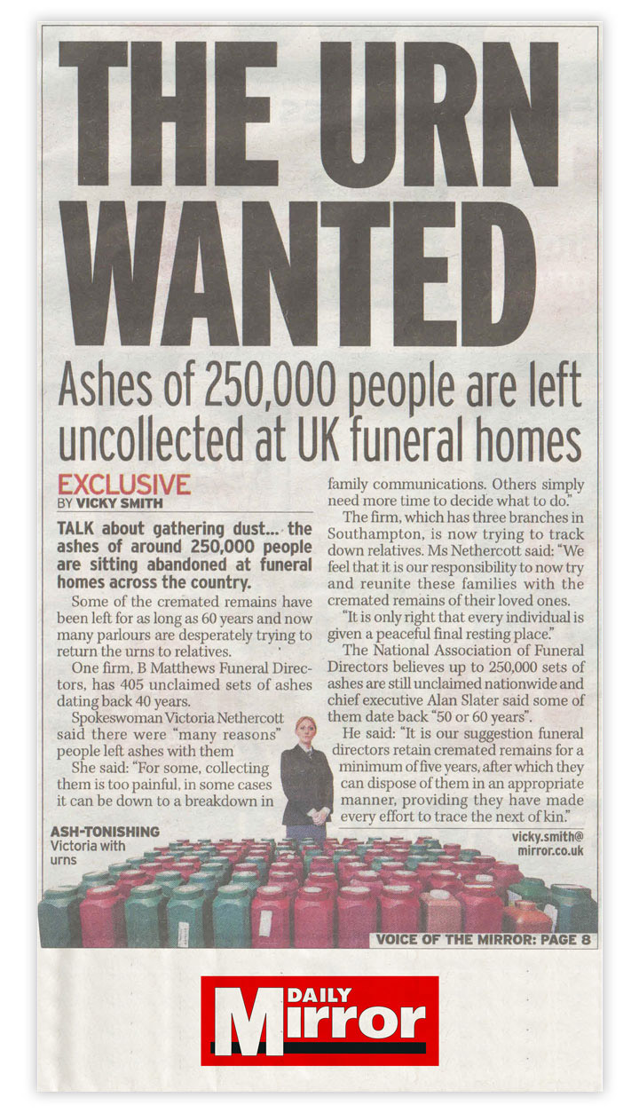 Daily Mirror press coverage by Gloucestershire public relations consultancy Alias for Laurel Funerals