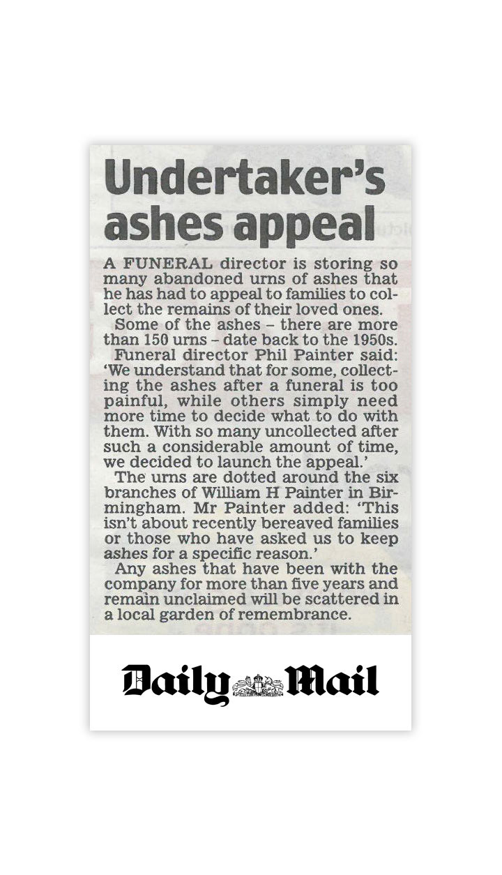 Daily Mail news article by Gloucestershire PR agency Alias for Laurel Funerals