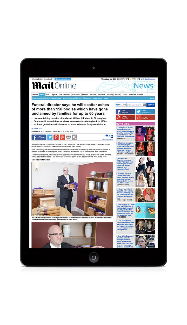 Daily Mail online coverage by Gloucestershire public relations agency Alias for Laurel Funerals