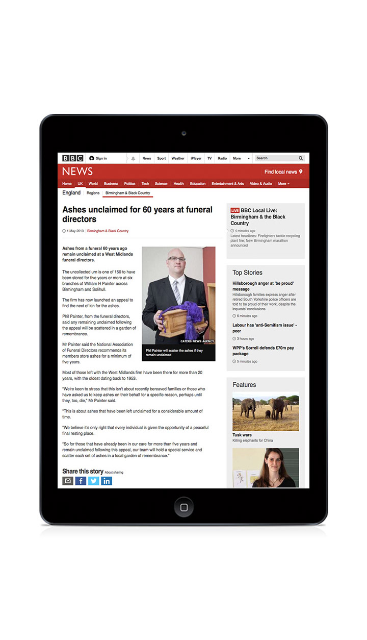 BBC News online press coverage by Gloucestershire PR agency Alias for Laurel Funerals